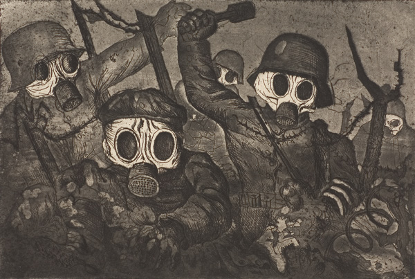 Otto Dix storm troopers advance under gas